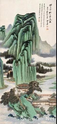 张大千1947年作 《仿赵大年湖山清夏图》 镜心130×59厘米