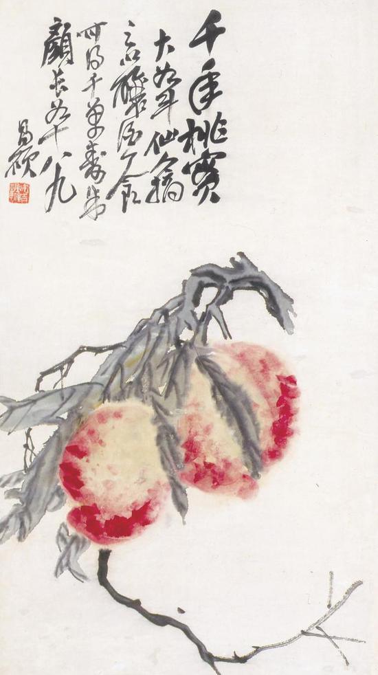 吴昌硕《双桃》72.5×40cm 纸本设色 1856年 北京画院藏