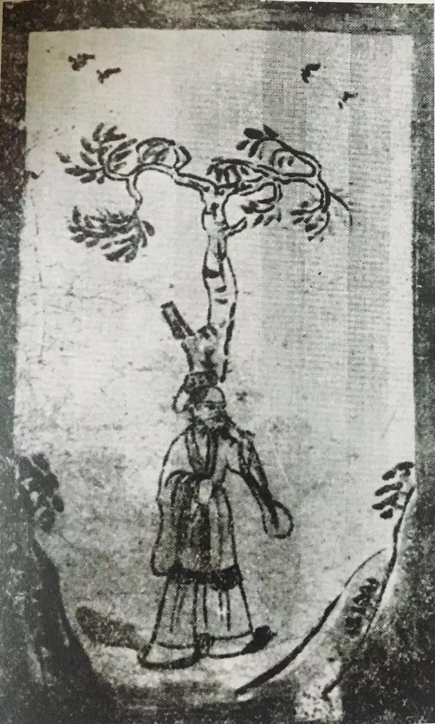 唐代壁画树下老人图 竹下老人图背后意义