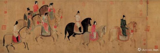 [唐]张萱《虢国夫人游春图》,宋摹本,辽宁省博物馆藏