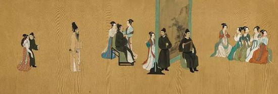 """安和 临摹《顾闳中韩熙载夜宴图》,设色绢本 手卷,70.2 x 645.2 cm。。估价:40,000 - 80,000美元。将于3月19日在佳士得纽约""""中国书画""""拍卖中呈献"""