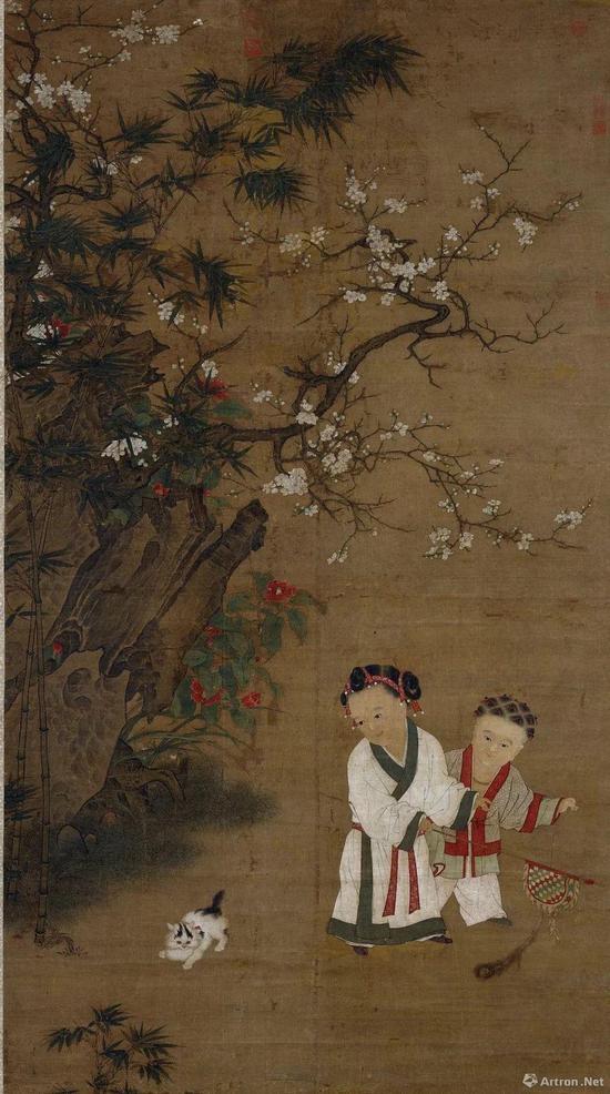 宋人《冬日婴戏图》绢本设色纵196.2cm,横107.1cm,现藏台北故宫博物院