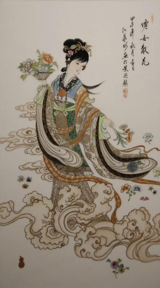 江华彬 古彩描金天女散花 瓷板  54cm×30cm
