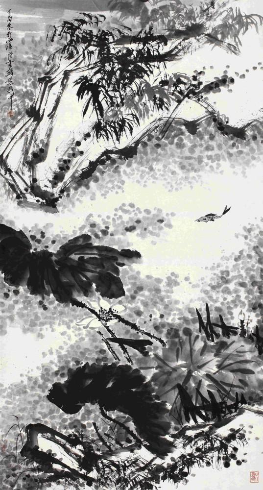叶茂中 《荷塘野趣》水墨纸本 镜心 177×94.5cm 2017年