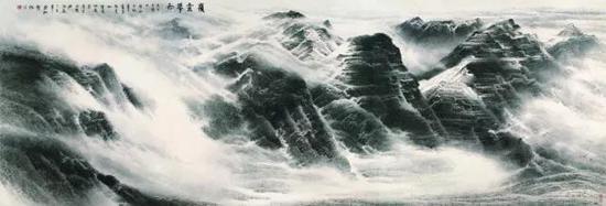 岭云带雨,许钦松,215×628cm,2007年