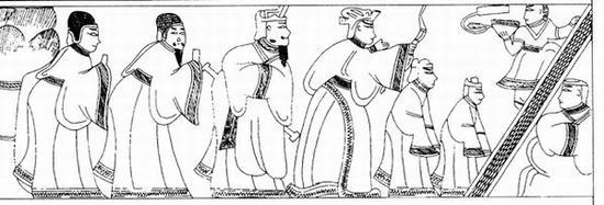 图10 曹操墓被盗画像石第一石上段下层右侧画像