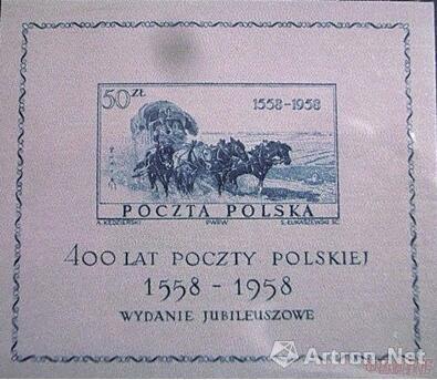 波兰邮政发行的世界首枚丝绸邮票