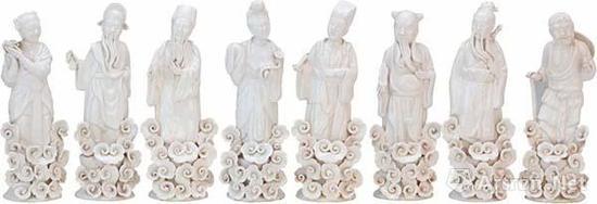 近代 枫溪窑德全兴款白釉塑八仙立像  高21厘米