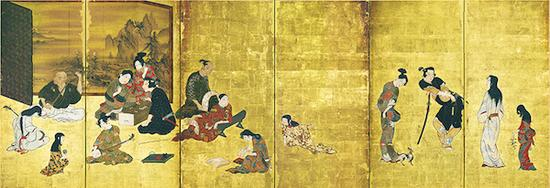 国宝 风俗图屏风(彦根屏风) 江户时代(17世纪) 滋贺彦根城博物馆藏