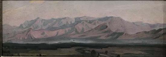 任丽君,《朝霞中的远山》,布上油画,1971