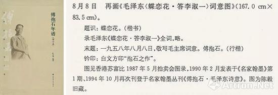 《傅抱石年谱》记《蝶恋花》创作于1958年8月8日