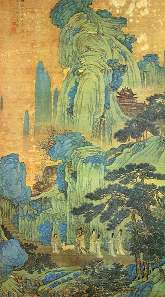 翁万戈捐给上海博物馆的明代画家沈周《临戴进谢安东山图》(局部)