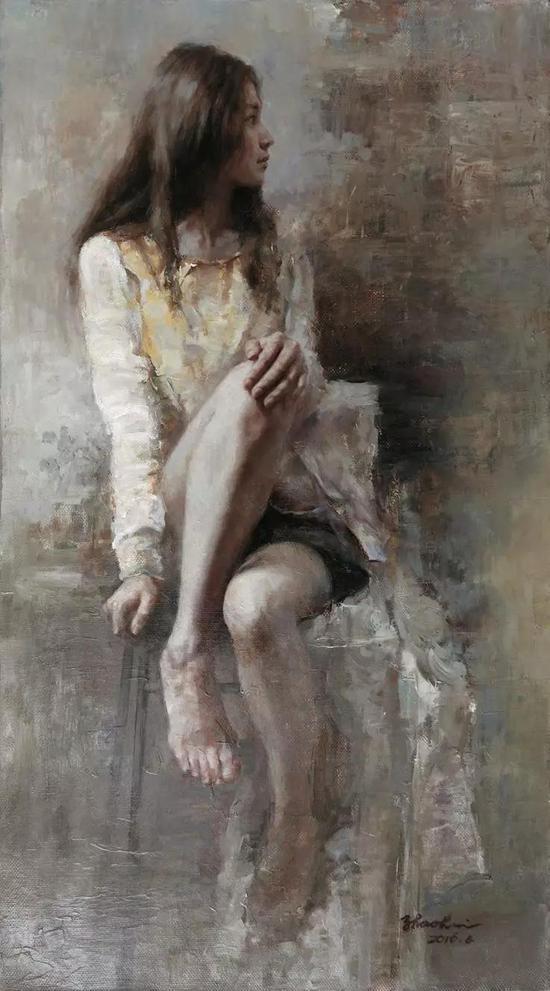 周朝晖 画室里的少女 油画