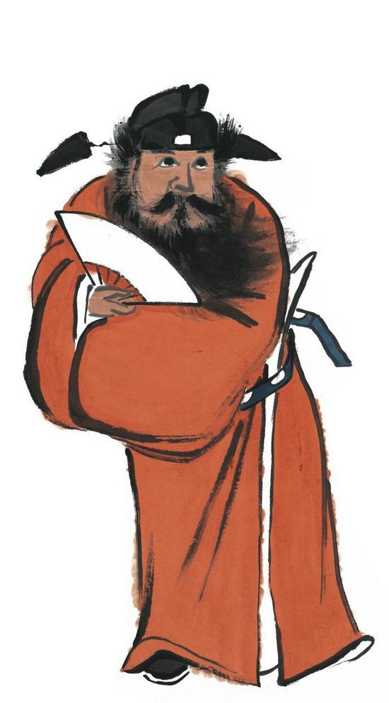 齐白石《钟馗》133.5×33.5cm 纸本设色无年款 北京画院藏