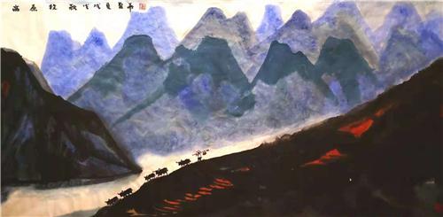 ▲《高原牧歌》138×68cm