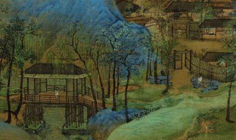 《千里江山图》局部,白、绿、青色彩分明