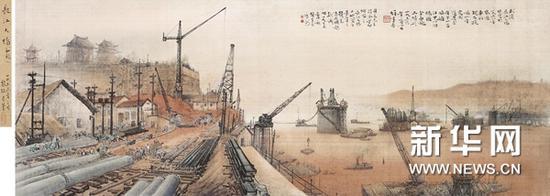 黎雄才(1910-2001)《长江大桥》镜心 设色绢本1956 年作