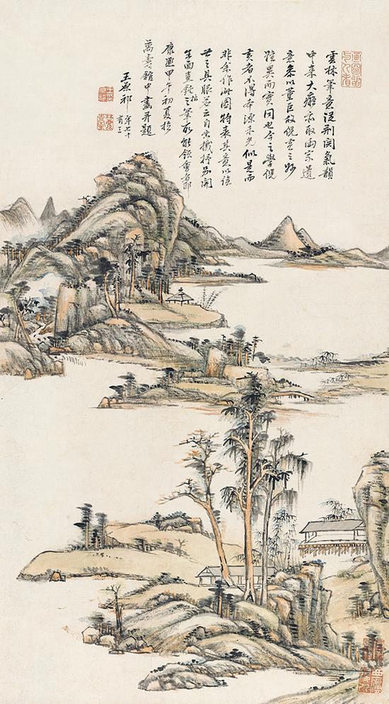 王原祁《疏林远岑》轴,纸本设色,73厘米×40.5厘米,1714年
