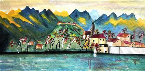 《阿尔卑斯山下的小镇安静原始风景美丽动人》196×96cm
