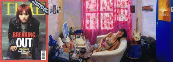 喻红,《她——80后作家》,2007,150x300+150x114cm,布上丙稀