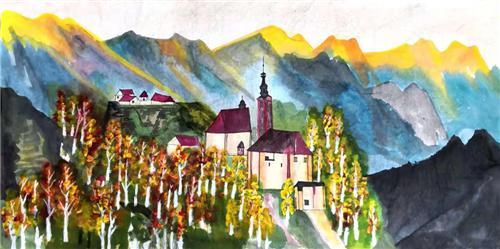 《阿尔卑斯山下的小镇》138×68cm