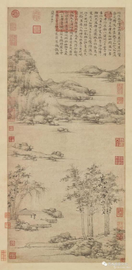 ■ 倪瓒 《江亭山色图》立轴纸本 94.7×43.7cm 台北故宫博物院藏