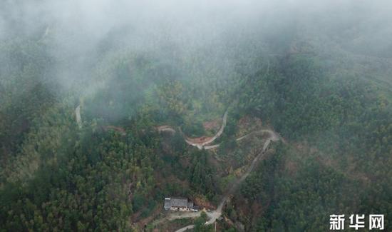 """位于龙泉市牛头岭村群山之中的""""七分醉""""工作室(1月15日无人机拍摄)。"""