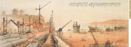 黎雄才《长江大桥》镜心 设色绢本 1956 年作  48 × 130 厘米