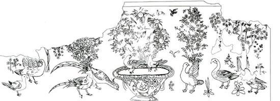 河南安阳郭燧夫妇墓壁画通景式花鸟屏风(线描图)