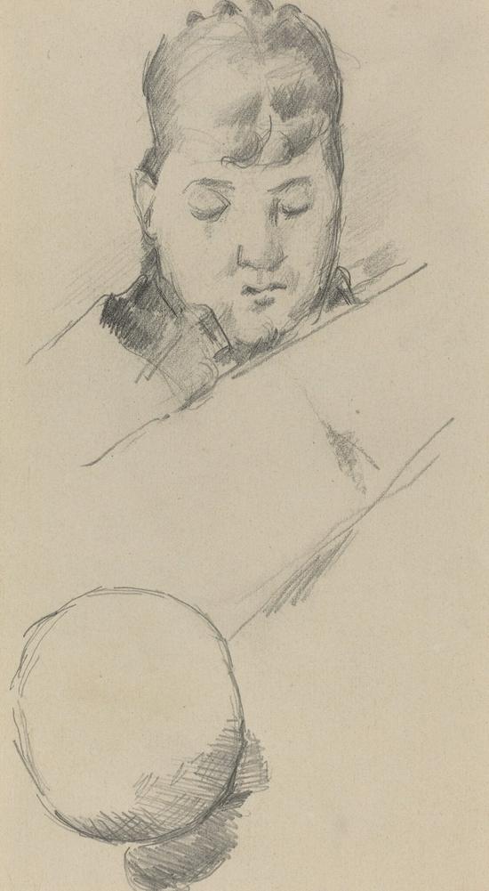 塞尚,《塞尚夫人胸像》,1884-1885年