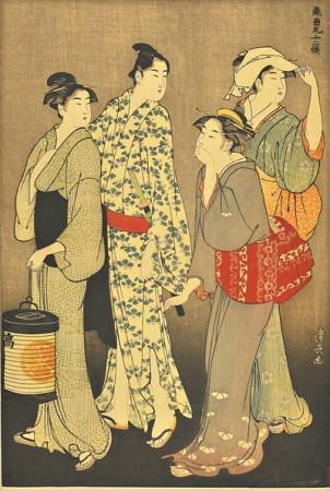 鲁迅藏品《色町街上的夕》(鸟居清长 浮世绘)。