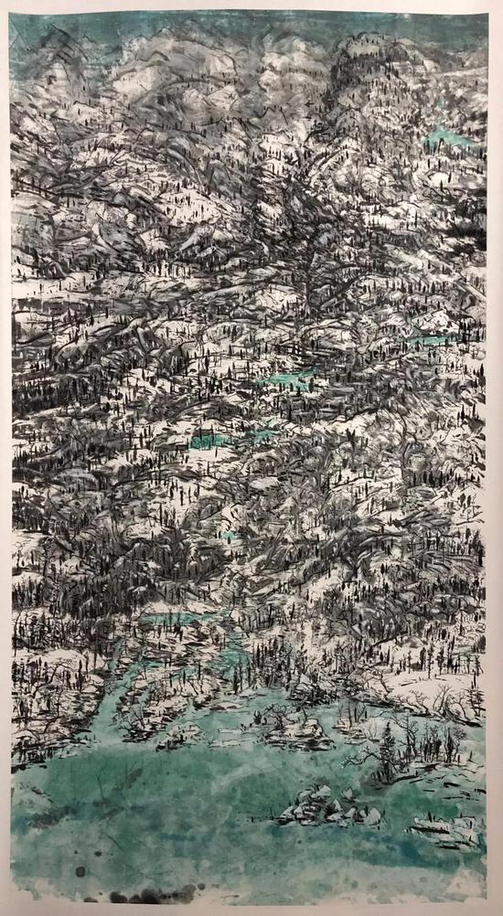 阿尔卑斯的冬日  2016  纸本设色  180x105cm