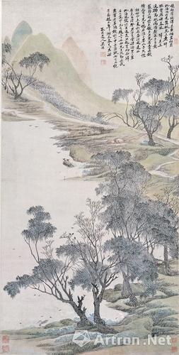 吴历《湖天春色图轴》(1676年作,45岁)上海博物馆收藏
