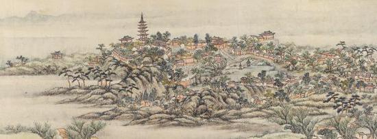 蒋溥《虎丘山图》卷(局部),纸本设色,10.4厘米×75.5厘米,1751-1756年