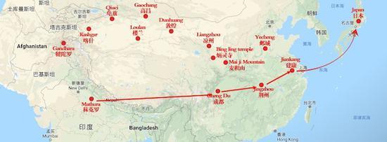 佛教3世纪自中印度东传至日本传播线路图