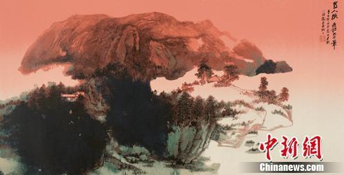 张大千《旭日东升》,丝网版画,68cm×134cm