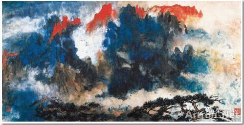 刘海粟 黄山一线天奇观 134.1cm×69.3cm 1976 上海刘海粟美术馆藏
