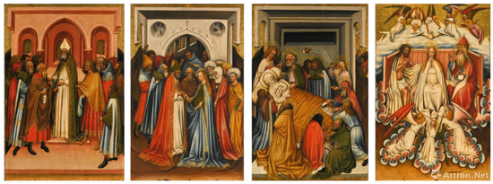 荷兰南部画派《圣母生平事迹画像四幅》油彩、金箔、橡木板 79x50cmx4 1418-1425年 成交价:265万英镑