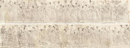 ▲ 《八十七神仙卷》(传为吴道子所绘) 292×30厘米,绢本水墨,徐悲鸿纪念馆藏
