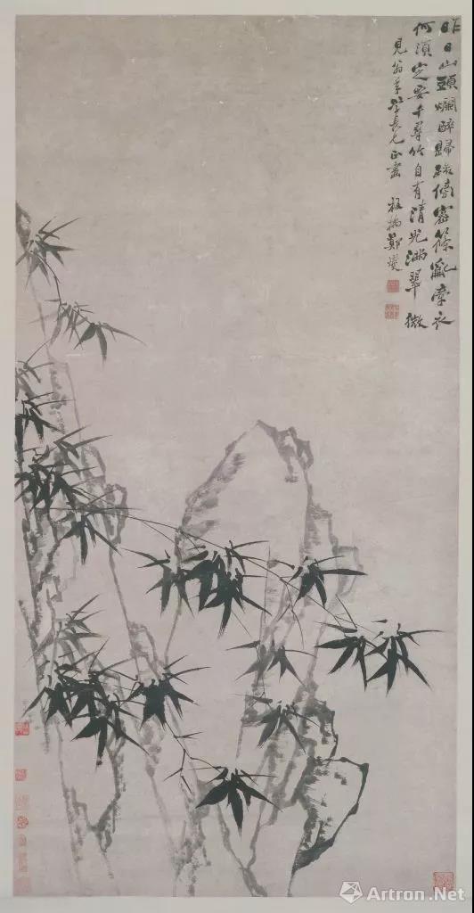 郑燮 墨笔《竹石图》轴
