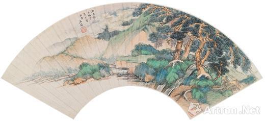 王鉴仿赵子昂云壑松荫图 设色纸本扇页 纵31厘米 横59.5厘米 上海博物馆藏
