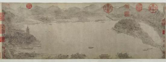 李嵩(南宋)《西湖图》26.7x85cm上海博物馆藏