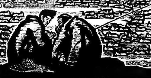 """1984年木刻《春秋》获""""庆祝中华人民共和国成立35周年""""美术创作奖"""