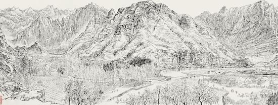 张仃,《房山十渡焦墨写生(局部)》,1977年