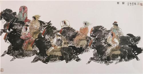《大漠驰骋》68×136cm 2002年