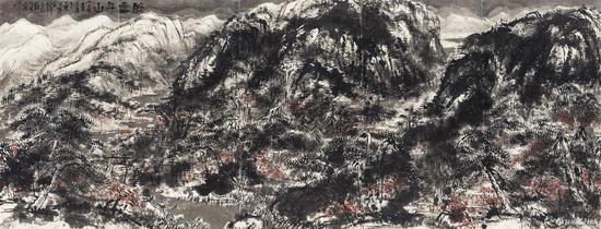 崔如琢《醉雪千山》镜心 设色纸本 177.6×470cm