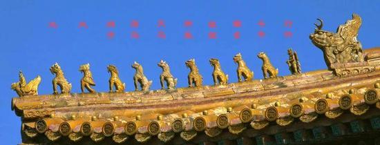 太和殿屋脊上的神兽:鸱吻、凤、狮子、天马、海马、狻猊、狎鱼、獬豸、斗牛、行什