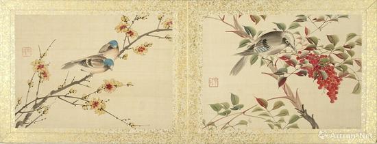 《腊梅山雀、天竺橿鸟》 迹见泷 明治四年(1871)
