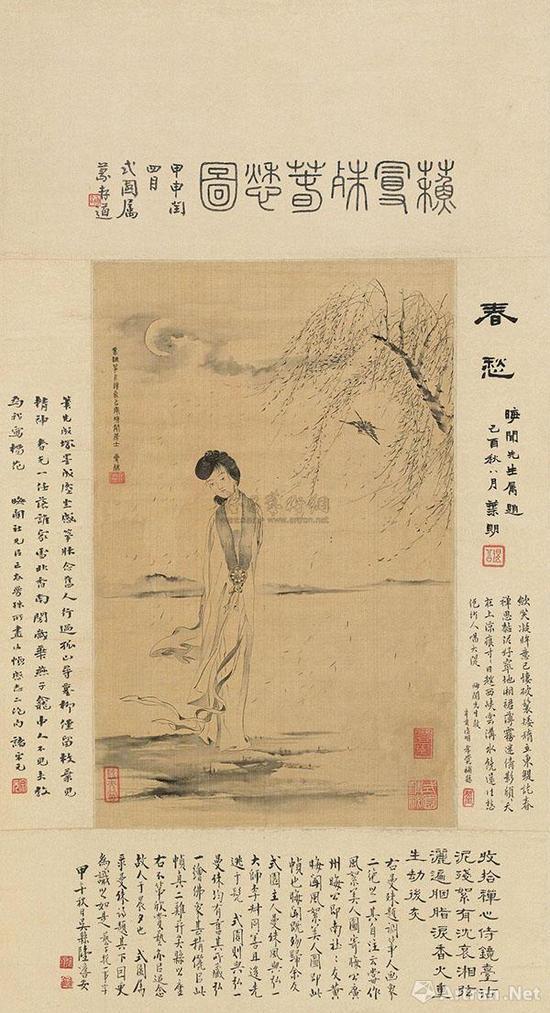 """苏曼殊《春愁图》35.3×22.3cm。画中女子为百助枫子,清冷月夜,立于江岸,柳絮纷飞,纵有""""殷勤为探看""""的青鸟,依然娥眉不展,彷徨若失。"""