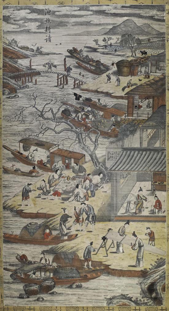 漁樵耕读图 106.5×57.0cm 墨版套? 清乾隆